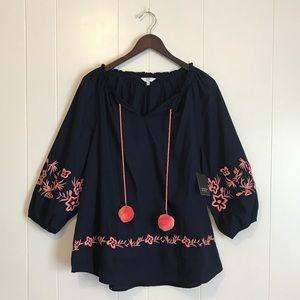 Crown & Ivy • NET Boho Embroidered Pom Pom Blouse